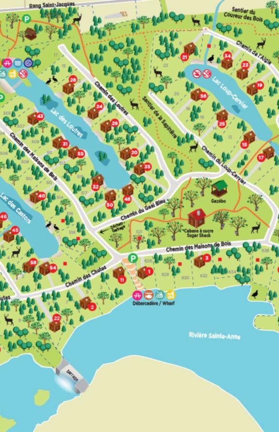 Carcajou - Carte du village touristique - Au Chalet en Bois Rond